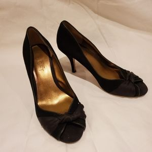 Ann Taylor Loft Black suede heel with knot detail